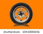 flat tire isolated from white... | Shutterstock . vector #1041800656