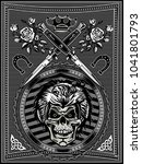 vintage label. skull dagger... | Shutterstock . vector #1041801793