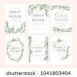 wedding invitation card green... | Shutterstock .eps vector #1041803404