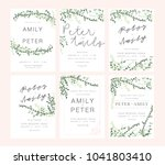 wedding invitation card green... | Shutterstock .eps vector #1041803410