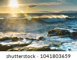 storm and waves at sea | Shutterstock . vector #1041803659