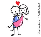 couple stick figure  carry the... | Shutterstock .eps vector #1041804148