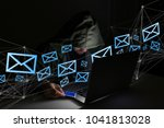 view of a hacker man in the... | Shutterstock . vector #1041813028