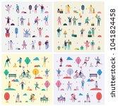 set of vector backgrounds in... | Shutterstock .eps vector #1041824458