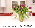 Purple Tulips In A Glass Vase...