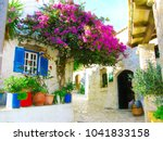 traditional street and houses... | Shutterstock . vector #1041833158
