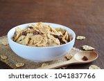 crispy whole wheat flakes...   Shutterstock . vector #1041837766