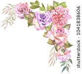 flowers corner with watercolor... | Shutterstock . vector #1041838606