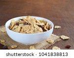 crispy whole wheat flakes... | Shutterstock . vector #1041838813