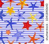 sea stars seamless pattern.... | Shutterstock .eps vector #1041840640
