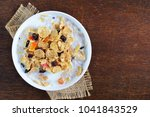 top view of crispy whole wheat... | Shutterstock . vector #1041843529