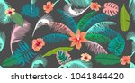 colorful aloha pattern.... | Shutterstock .eps vector #1041844420