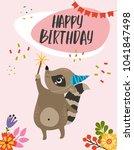 happy birthday. cute vector... | Shutterstock .eps vector #1041847498