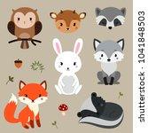 woodland animals set. | Shutterstock .eps vector #1041848503