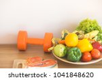 healthy eating with workout and ... | Shutterstock . vector #1041848620