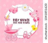 baby shower set. invitation...   Shutterstock .eps vector #1041851620