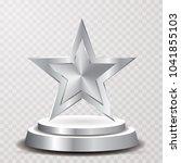 silver star on podium ... | Shutterstock .eps vector #1041855103