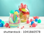 glassware with different chewy... | Shutterstock . vector #1041860578