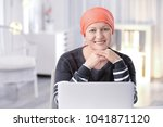 mature woman ill with cancer in ... | Shutterstock . vector #1041871120