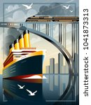 art deco ship vector...