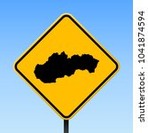 slovakia map road sign. square...   Shutterstock .eps vector #1041874594