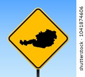 austria map road sign. square... | Shutterstock .eps vector #1041874606