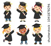 set of children in a graduation ... | Shutterstock .eps vector #1041878296