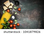 top view of uncooked pasta with ... | Shutterstock . vector #1041879826