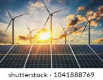 wind turbine with solar panels... | Shutterstock . vector #1041888769
