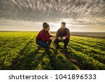 young farmers examing planted... | Shutterstock . vector #1041896533