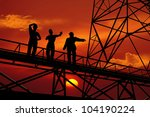 silhouette of worker at the... | Shutterstock . vector #104190224