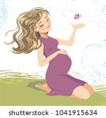 pregnant woman sitting on grass ... | Shutterstock .eps vector #1041915634