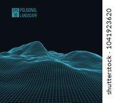 wireframe landscape wire.... | Shutterstock .eps vector #1041923620