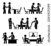 stick figure negotiation icon... | Shutterstock .eps vector #1041925399