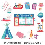 doodle drawing pet shop with... | Shutterstock .eps vector #1041927253