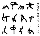 stick figure girl basic yoga... | Shutterstock .eps vector #1041930439