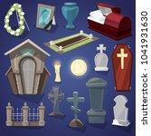 graveyard vector scary cemetery ... | Shutterstock .eps vector #1041931630