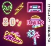 set retrowave neon sign. neon...   Shutterstock . vector #1041945313