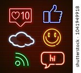 set of emoticons  glowing emoji ... | Shutterstock . vector #1041949918
