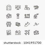 travel icon set and door... | Shutterstock . vector #1041951700