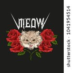 rock and roll cat and roses.... | Shutterstock . vector #1041954514