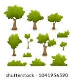 trees  hedges and bush set ...   Shutterstock .eps vector #1041956590
