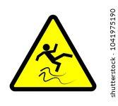 warning sign. beware of slippery | Shutterstock .eps vector #1041975190