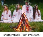 midsummer. young people in... | Shutterstock . vector #1041983026