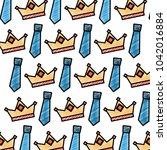 crown and necktie accessory...   Shutterstock .eps vector #1042016884