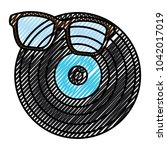 retro glasses and vinyl disc... | Shutterstock .eps vector #1042017019