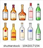 alcohol bottles set  drinks... | Shutterstock .eps vector #1042017154
