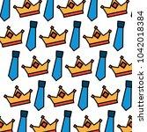 crown and necktie accessory...   Shutterstock .eps vector #1042018384