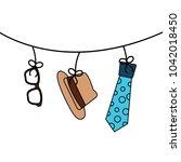 classic hat necktie and glasses ...   Shutterstock .eps vector #1042018450