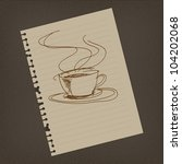 Coffee sign draw on notepaper illustrator - stock photo